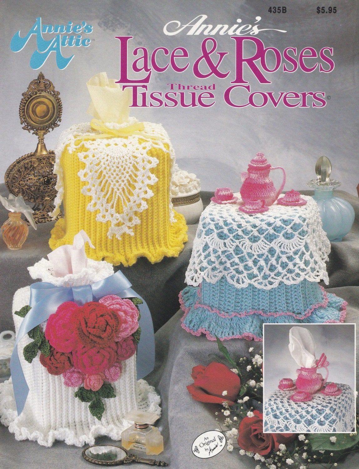Lace & Roses Tissue Box Covers, Annie\'s Attic Crochet Pattern ...
