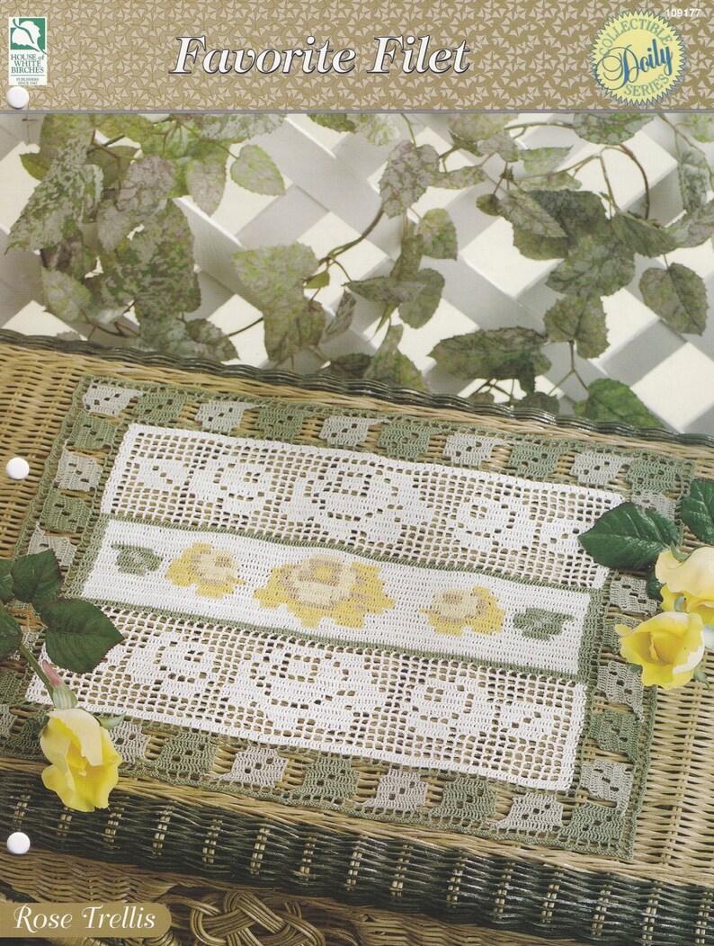 Favorite Filet crochet pattern leaflet Rose Filet Runner Doily