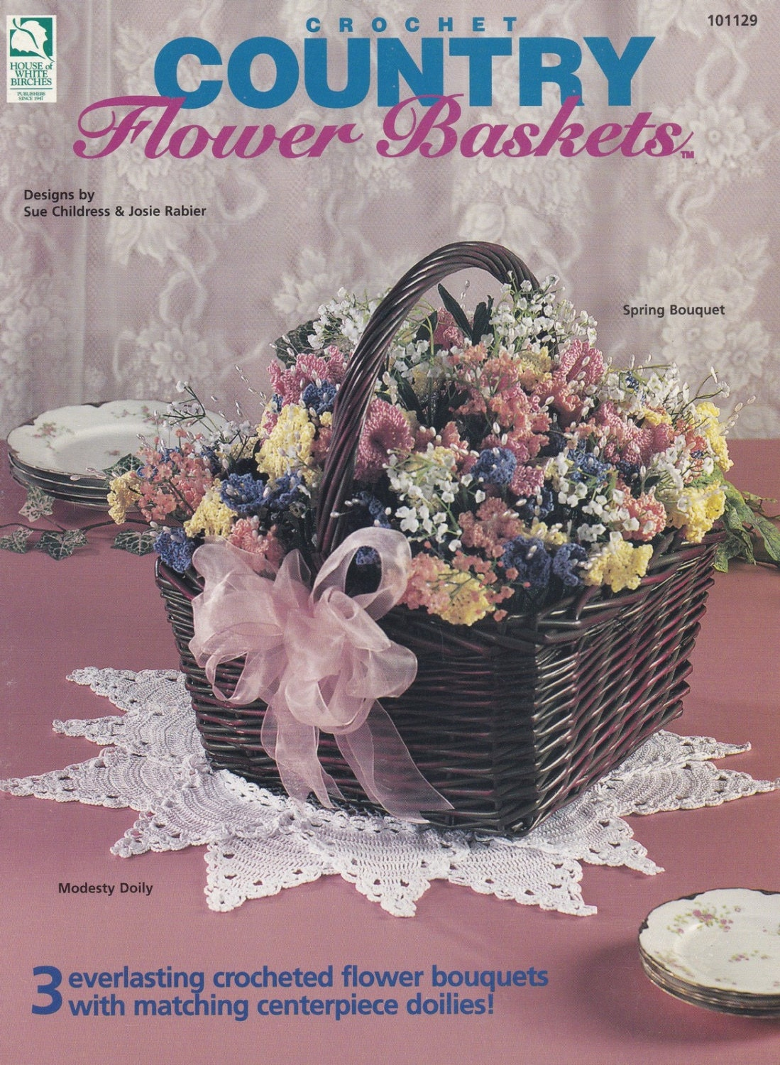 Country Flower Baskets Home Decor Crochet Pattern House Of Etsy