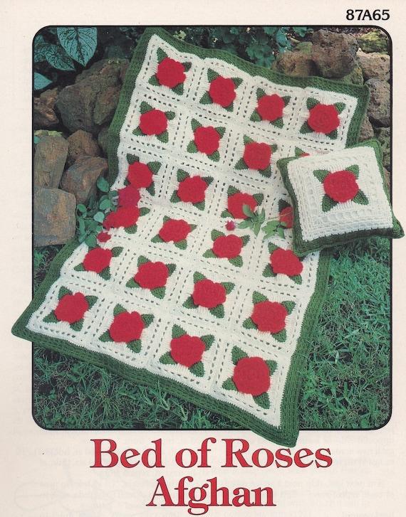 Bed Of Roses Afghan Annies Attic Crochet Pattern Leaflet Etsy