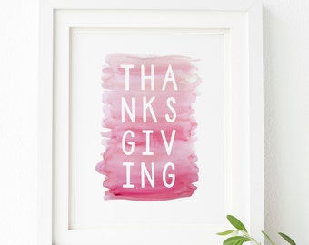 Thanksgiving Printable Wall Art 8x10, 5x7, 11x14, Thanksgiving Decor, Holiday Printable, Holiday Decor, Plum Ombre Watercolor