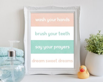 Wash Your Hands Bathroom Rules Printable Wall Art 8x10, Blush/Pink and Mint, Bathroom Digital Print, Bathroom Wall Art Quote, Kids Bathroom