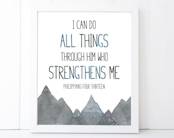 I Can Do All Things Through Him Scripture Printable Wall Art 8x10, 5x7, 11x14, Bible Verse Print, Philippians 4:13, Scripture Digital Print