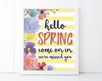 Hello Spring Printable Wall Art 8x10, 5x7, 11x14, Spring Digital Print, Spring Sign, Spring Decor, Spring Decorations, Watercolor Flowers