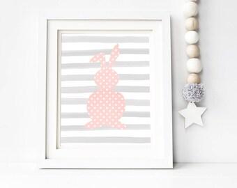 Pink and Gray Bunny Woodland Nursery Printable Wall Art 8x10, 5x7, 11x14, Nursery Digital Print, Baby Girl Nursery Print, Baby Girl Wall Art