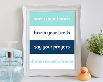 Wash Your Hands Bathroom Rules Printable Wall Art 8x10, Aqua and Navy, Bathroom Digital Print, Bathroom Wall Art Quote, Kids Bathroom