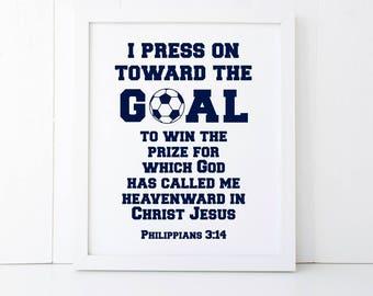 I Press On Toward the Goal Scripture Printable Wall Art 8x10, 5x7, 11x14, Sports Bible Verse Printable, Football Printable Wall Art