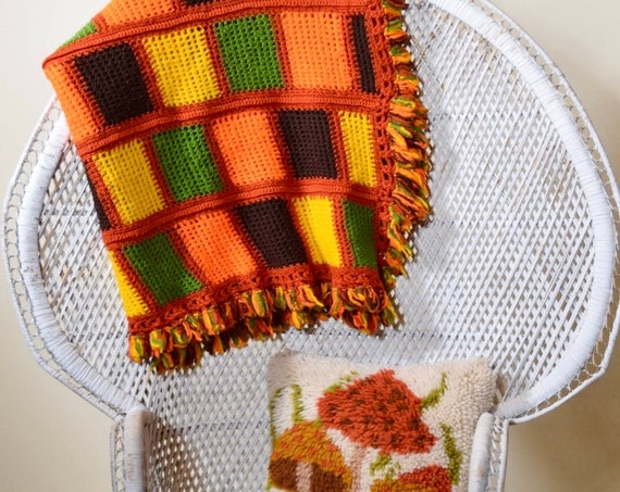 1970s authentic vintage handmade gold, orange green mid century boho hippie afghan throw blanket with fringe