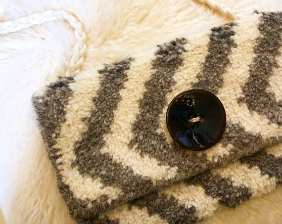 1970s authentic vintage gray + white chevron pattern carpet fabric purse with woven cord strap