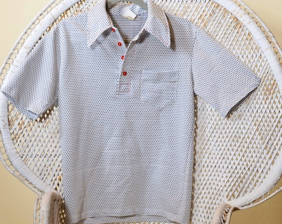 1970s authentic vintage polyester collared polka dot pattern golf shirt Jantzen brand size S/M