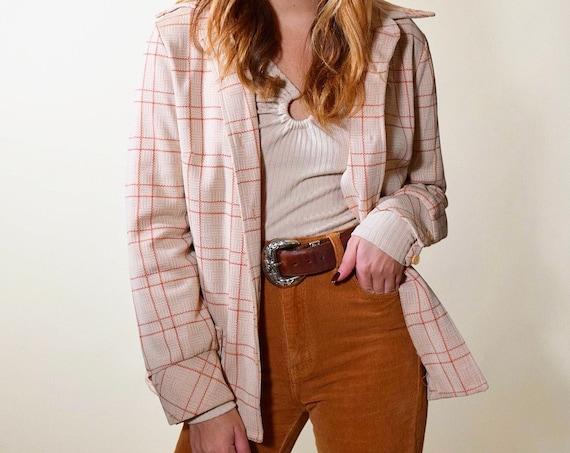 1970s authentic vintage handmade plaid / flannel lightweight polyester blazer women's size medium