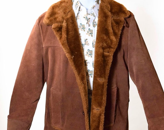 1970s authentic vintage faux fur + brown suede button down coat unisex Medium