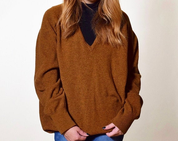 1970s authentic Vintage cozy oversized fall copper/brown v neck lambswool sweater unisex large-XL