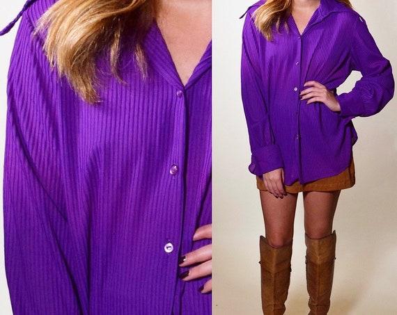 1960s authentic vintage purple wide collar mod button down blouse women's size medium-large