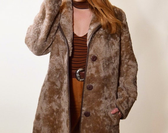 1960s vintage brown lambswool winter coat with leather trim women's size medium