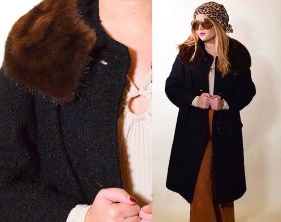 1950s vintage black Persian lambswool + brown mink fur collar button down coat women's size medium