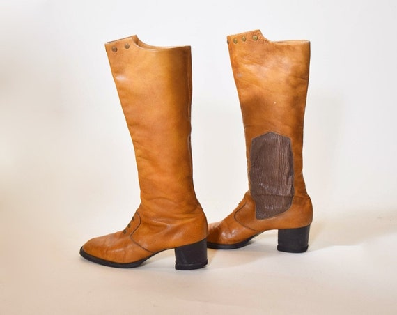 "1960s authentic vintage tall brown leather chunky 2 "" heel Bandolini boots women's US size 6 made in ITALY"