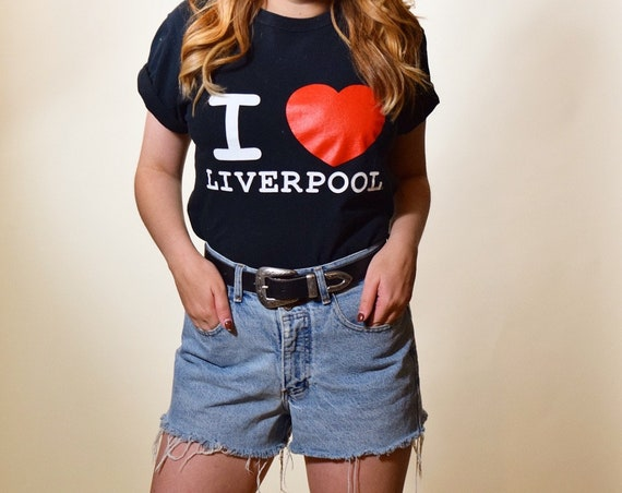 Vintage I Love Liverpool classic souvenir style graphic tee shirt size small