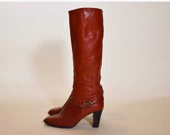 1ed9b816d25 1970s vintage brick red leather tall boots with 3