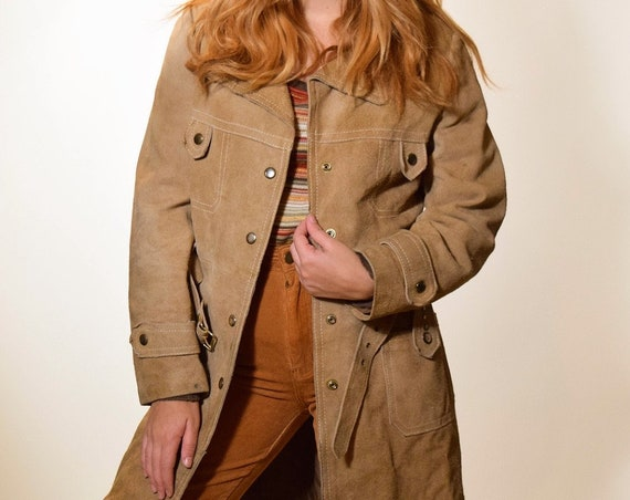 1960s MOD tan suede leather coat with matching belt women's size S-M