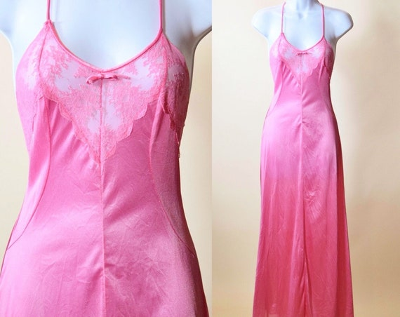 1970s vintage hot pink lace bodice nylon maxi night gown spaghetti strap romantic dress women's XS