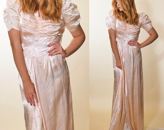 1940s authentic vintage RARE pale pink satin bias cut evening gown women's size small