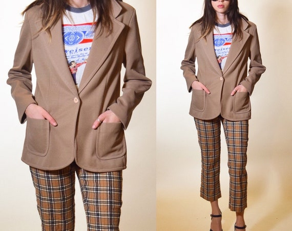 1970s authentic vintage tan brown classic fitted polyester blazer women's size small / medium