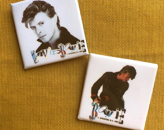1980s Authentic vintage David Bowie 1987 deadstock 2 square button set!