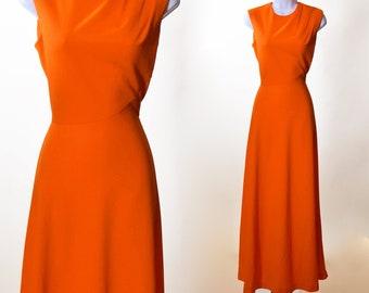 c29d0d62a8 1960s authentic vintage orange sleeveless polyester maxi dress women s size  small - medium