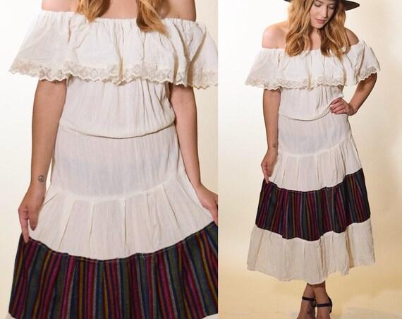 1970s authentic vintage off the shoulder lace trim cotton gauze bohemian hippie ankle length dress women's size S-M