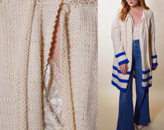 1970s vintage off white + blue stripe open front swing / cape cardigan with neck tie women's size medium