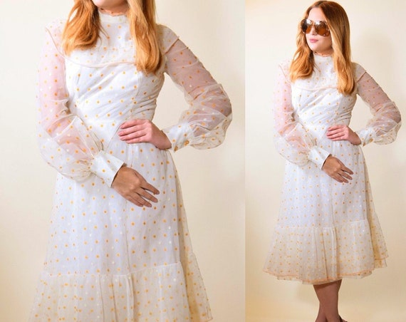 1970s vintage high collar off white long sleeve fit and flare party dress with orange polka dots women's size small