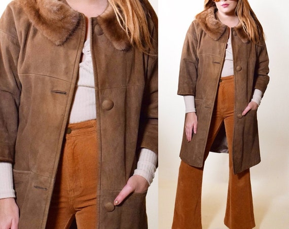 1960s vintage suede + fur collar A-Line coat women's size Small-Medium