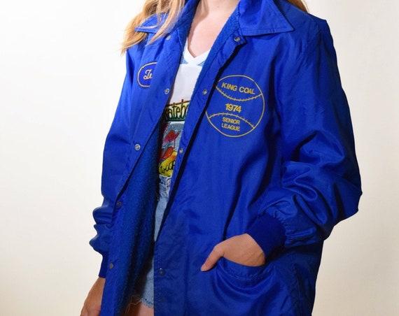 1970s authentic vintage blue 1974 High School Senior League Baseball snap up jacket unisex large
