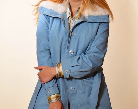 1960s authentic vintige baby blue button down coat with white faux fur collar women's size small