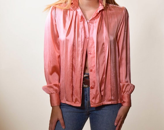 72d7b73688a5c ... 1980s authentic vintage pink silk button down blouse women s size small  - medium