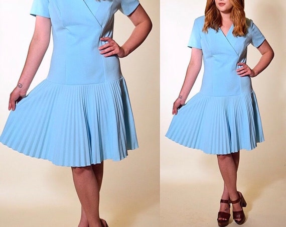 Vintage 1960's baby blue drop waist dress with pleated skirt women's size small