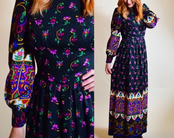 Vintage  1970's bohemian floral high collar maxi womens size small