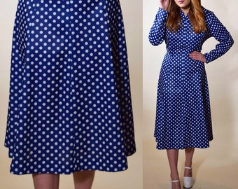 7d8eee353d28 1960s vintage rockabilly style blue + white polka dot I Love Lucy style  dress women's size Medium-Large