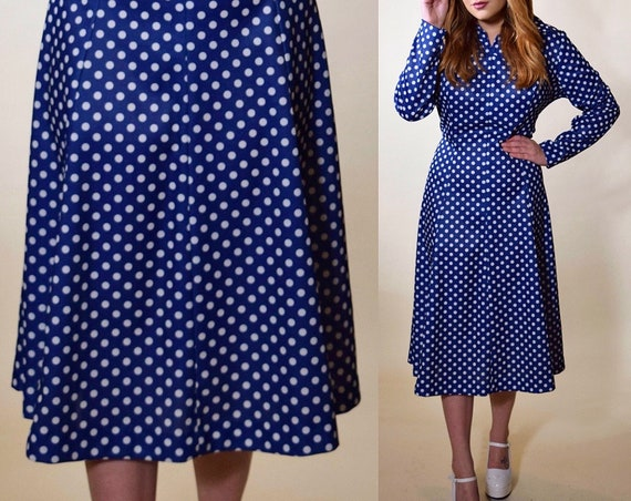 1960s vintage rockabilly style blue + white polka dot I Love Lucy style dress women's size Medium-Large