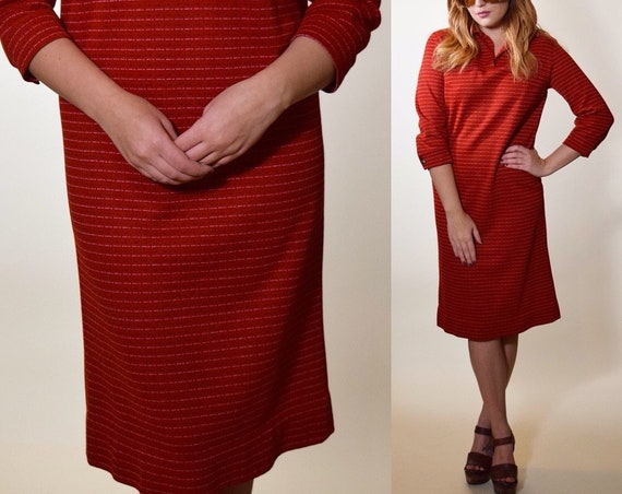 1970s preppy collared red 3/4 length sleeve pullover dress women's size small