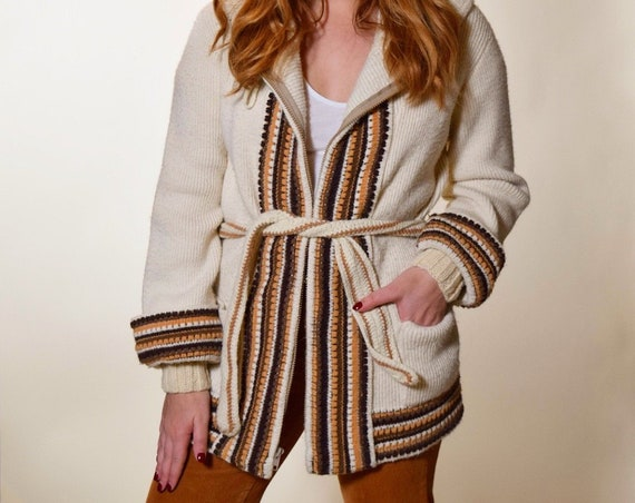 ... 1960s-1970s authentic vintage heavy acrylic beige stripe cardigan with hood  women s size S-M 1667f8da2