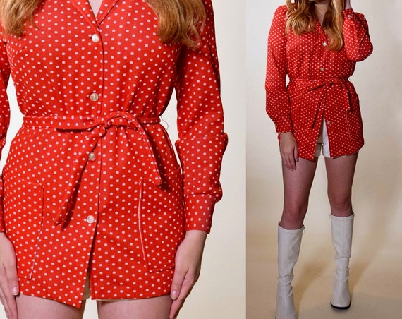 1960s vintage polyester/ knit red + white polka dot button down tunic blouse women's size small