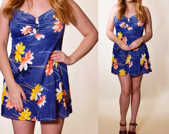 Vintage 1960's one piece swimsuit halter dress / romper floral hippie retro mod women's size M/L (8-10 )