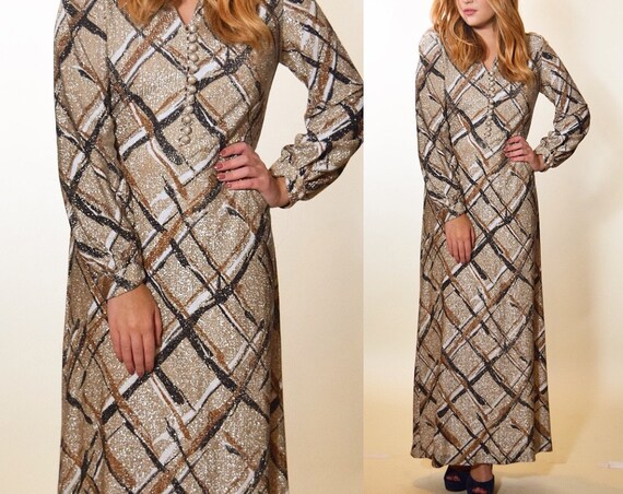 1960s authentic vintage lurex long sleeve glitter formal long sleeve maxi dress women's size Small