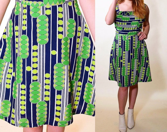 1970s vintage blue, green + white fit and flare geo print sleeveless fun summer dress women's size small