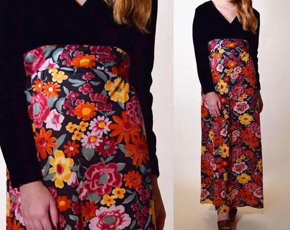 1960s RARE vintage black velvet bust + floral bodice petite long sleeve maxi dress women's size Small
