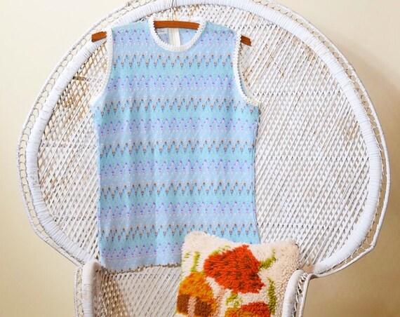 1960s/70s authentic vintage acrylic sleeveless light baby blue rainbow /pastel sweater shirt women's size medium