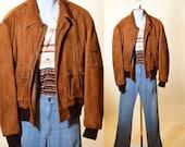 1970s 80s authentic vintage super soft brown suede leather zip up bomber jacket men 39 s size large