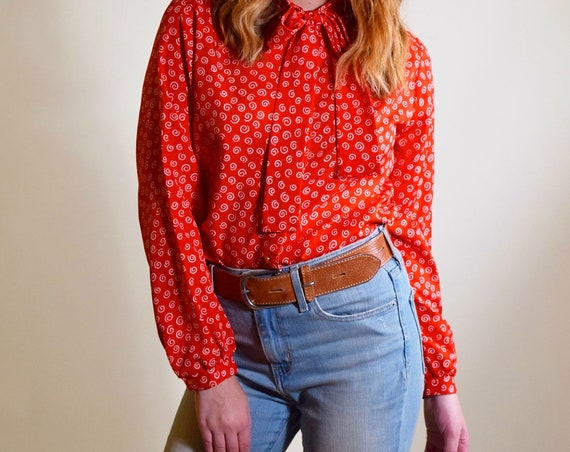 Vintage 1970's red and white long sleeve button down tie blouse women's size medium